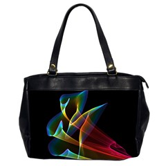 Peacock Symphony, Abstract Rainbow Music Oversize Office Handbag (Two Sides)