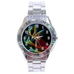 Peacock Symphony, Abstract Rainbow Music Stainless Steel Watch