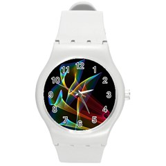 Peacock Symphony, Abstract Rainbow Music Plastic Sport Watch (Medium)