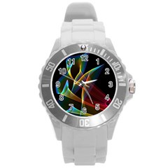 Peacock Symphony, Abstract Rainbow Music Plastic Sport Watch (Large)