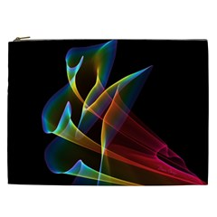 Peacock Symphony, Abstract Rainbow Music Cosmetic Bag (XXL)