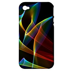 Peacock Symphony, Abstract Rainbow Music Apple Iphone 4/4s Hardshell Case (pc+silicone)