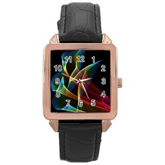 Peacock Symphony, Abstract Rainbow Music Rose Gold Leather Watch