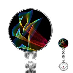 Peacock Symphony, Abstract Rainbow Music Stainless Steel Nurses Watch