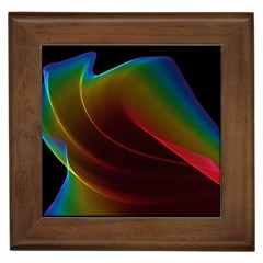 Liquid Rainbow, Abstract Wave Of Cosmic Energy  Framed Ceramic Tile