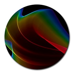 Liquid Rainbow, Abstract Wave Of Cosmic Energy  8  Mouse Pad (Round)