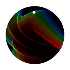Liquid Rainbow, Abstract Wave Of Cosmic Energy  Round Ornament