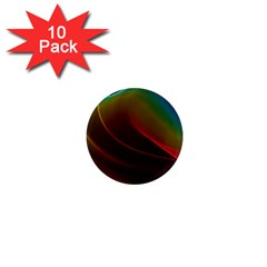 Liquid Rainbow, Abstract Wave Of Cosmic Energy  1  Mini Button Magnet (10 pack)