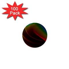 Liquid Rainbow, Abstract Wave Of Cosmic Energy  1  Mini Button (100 pack)