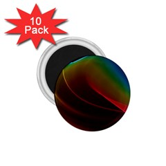 Liquid Rainbow, Abstract Wave Of Cosmic Energy  1.75  Button Magnet (10 pack)
