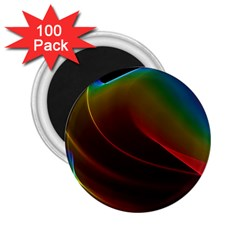 Liquid Rainbow, Abstract Wave Of Cosmic Energy  2.25  Button Magnet (100 pack)