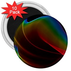 Liquid Rainbow, Abstract Wave Of Cosmic Energy  3  Button Magnet (10 pack)