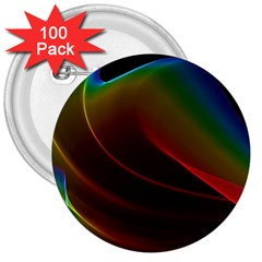 Liquid Rainbow, Abstract Wave Of Cosmic Energy  3  Button (100 pack)