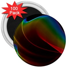 Liquid Rainbow, Abstract Wave Of Cosmic Energy  3  Button Magnet (100 pack)