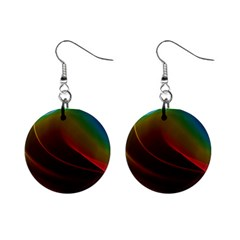 Liquid Rainbow, Abstract Wave Of Cosmic Energy  Mini Button Earrings