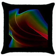 Liquid Rainbow, Abstract Wave Of Cosmic Energy  Black Throw Pillow Case