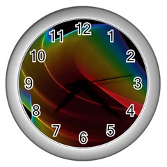 Liquid Rainbow, Abstract Wave Of Cosmic Energy  Wall Clock (silver)