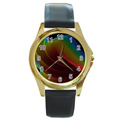 Liquid Rainbow, Abstract Wave Of Cosmic Energy  Round Leather Watch (Gold Rim)