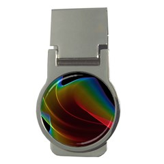 Liquid Rainbow, Abstract Wave Of Cosmic Energy  Money Clip (Round)