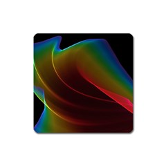 Liquid Rainbow, Abstract Wave Of Cosmic Energy  Magnet (Square)