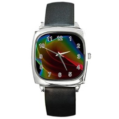 Liquid Rainbow, Abstract Wave Of Cosmic Energy  Square Leather Watch