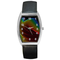 Liquid Rainbow, Abstract Wave Of Cosmic Energy  Tonneau Leather Watch