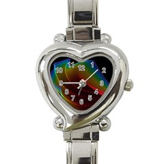 Liquid Rainbow, Abstract Wave Of Cosmic Energy  Heart Italian Charm Watch