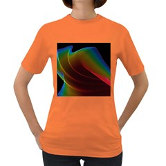 Liquid Rainbow, Abstract Wave Of Cosmic Energy  Women s T-shirt (Colored)