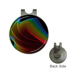 Liquid Rainbow, Abstract Wave Of Cosmic Energy  Hat Clip with Golf Ball Marker