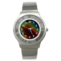 Liquid Rainbow, Abstract Wave Of Cosmic Energy  Stainless Steel Watch (slim)