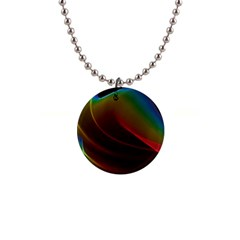 Liquid Rainbow, Abstract Wave Of Cosmic Energy  Button Necklace