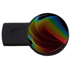 Liquid Rainbow, Abstract Wave Of Cosmic Energy  4gb Usb Flash Drive (round)