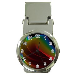 Liquid Rainbow, Abstract Wave Of Cosmic Energy  Money Clip with Watch