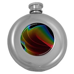 Liquid Rainbow, Abstract Wave Of Cosmic Energy  Hip Flask (Round)