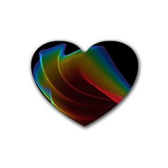 Liquid Rainbow, Abstract Wave Of Cosmic Energy  Drink Coasters (heart)