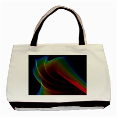 Liquid Rainbow, Abstract Wave Of Cosmic Energy  Twin-sided Black Tote Bag