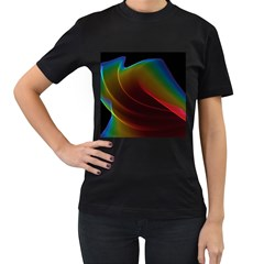 Liquid Rainbow, Abstract Wave Of Cosmic Energy  Women s T-shirt (Black)