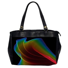 Liquid Rainbow, Abstract Wave Of Cosmic Energy  Oversize Office Handbag (Two Sides)