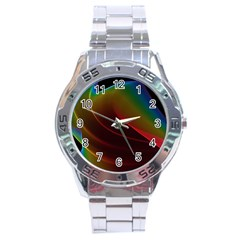 Liquid Rainbow, Abstract Wave Of Cosmic Energy  Stainless Steel Watch