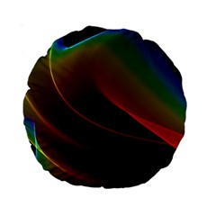 Liquid Rainbow, Abstract Wave Of Cosmic Energy  15  Premium Round Cushion