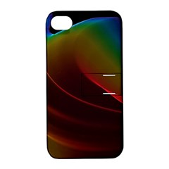 Liquid Rainbow, Abstract Wave Of Cosmic Energy  Apple Iphone 4/4s Hardshell Case With Stand