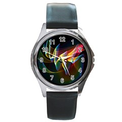 Northern Lights, Abstract Rainbow Aurora Round Leather Watch (Silver Rim)