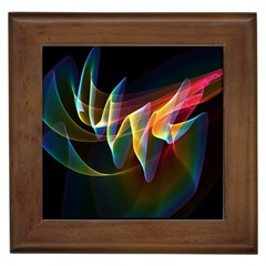 Northern Lights, Abstract Rainbow Aurora Framed Ceramic Tile