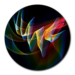 Northern Lights, Abstract Rainbow Aurora 8  Mouse Pad (round)