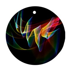 Northern Lights, Abstract Rainbow Aurora Round Ornament