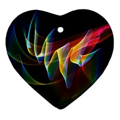 Northern Lights, Abstract Rainbow Aurora Heart Ornament