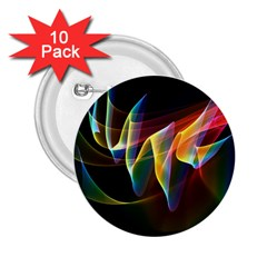 Northern Lights, Abstract Rainbow Aurora 2.25  Button (10 pack)