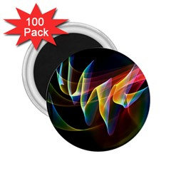 Northern Lights, Abstract Rainbow Aurora 2.25  Button Magnet (100 pack)