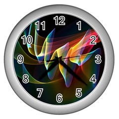 Northern Lights, Abstract Rainbow Aurora Wall Clock (Silver)