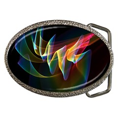 Northern Lights, Abstract Rainbow Aurora Belt Buckle (oval)
